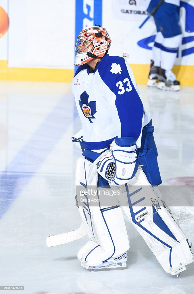 Ray Emery #33 of the Toronto Marlies skates in warmup prior to a game against the Syracuse Crunch on January 3, 2016 at Ricoh Coliseum in Toronto, Ontario, Canada.
