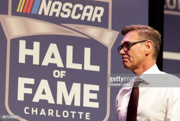 Ray Evernham is presented with his Hall of Fame jacket during a banquet before the NASCAR Hall of Fame Induction Ceremony at Charlotte Convention...