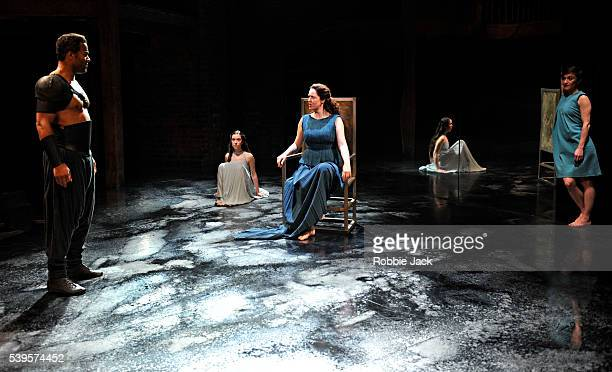 Ray Fearon as Agamemnon Amy McAllister as Polyxena Derbhle Crotty as Hecuba and Nadia Albina as Cassandra in the Royal Shakespeare Company's...