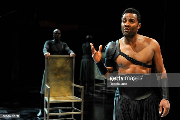 Ray Fearon as Agamemnon and Chu Omambala as Odysseus in the Royal Shakespeare Company's production of Euripides's Hecuba adapted by Marina Carr and...