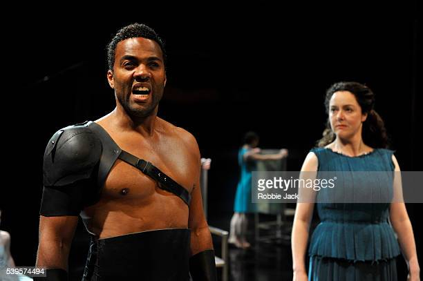 Ray Fearon as Agamemnon and Derbhle Crotty as Hecuba in the Royal Shakespeare Company's production of Euripides's Hecuba adapted by Marina Carr and...