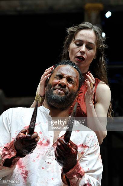 Ray Fearon as Macbeth and Tara Fitzgerald as Lady Macbeth in William Shakespeare's Macbeth directed by Iqban Khan at The Globe Theatre on June 22,...