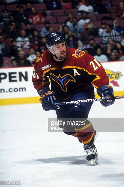 Ray Ferraro of the Atlanta Thrashers skates on the ice during an NHL game against the New Jersey Devils on March 31, 2000 at the Continental Airlines...