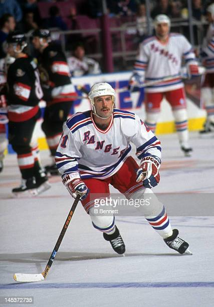 Ray Ferraro of the New York Rangers skates on the ice during an NHL game against the Ottawa Senators on October 22 1995 at the Madison Square Garden...