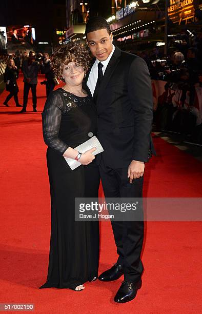 """Ray Fisher and a guest attend the European Premiere of """"Batman V Superman: Dawn Of Justice"""" at Odeon Leicester Square on March 22, 2016 in London,..."""