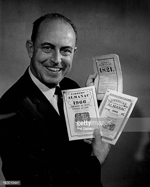 OCT 12 1965 OCT 13 1965 Ray Geiger Is Editor Of Farmers' Almanac He holds copies of the 1821 edition the free 1966 publication left and 35cent...