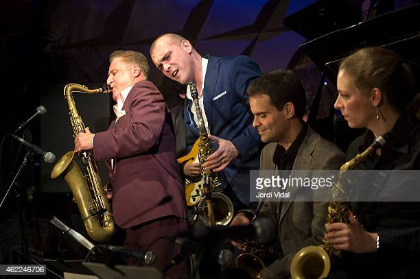 Ray Gelato Big Dani Perez Ignasi Poch and Duska Miscevic perform on stage at Jamboree on January 25 2015 in Barcelona Spain