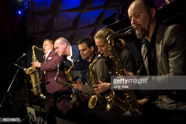 Ray Gelato Big Dani Perez Ignasi Poch Duska Miscevic and Artem Zhuliev perform on stage at Jamboree on January 25 2015 in Barcelona Spain