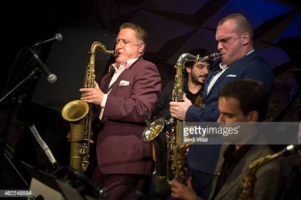 Ray Gelato Hector Marin Big Dani Perez and Ignasi Poch perform on stage at Jamboree on January 25 2015 in Barcelona Spain