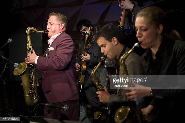Ray Gelato Ignasi Poch and Duska Miscevic perform on stage at Jamboree on January 25 2015 in Barcelona Spain