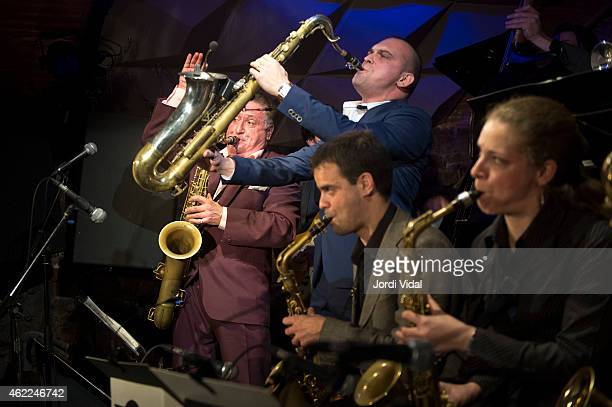 Ray Gelato Ignasi Poch Big Dani Perez and Duska Miscevic perform on stage at Jamboree on January 25 2015 in Barcelona Spain