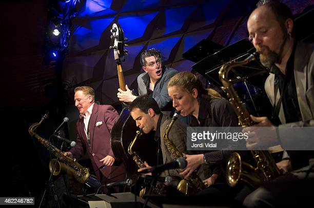 Ray Gelato Ignasi Poch Ivan Kovacevic Duska Miscevic and Artem Zhuliev perform on stage at Jamboree on January 25 2015 in Barcelona Spain