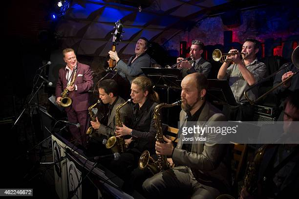 Ray Gelato Ignasi Poch Ivan Kovacevic Duska Miscevic Artem Zhuliev Victor Verges and Jaume Torne perform on stage at Jamboree on January 25 2015 in...