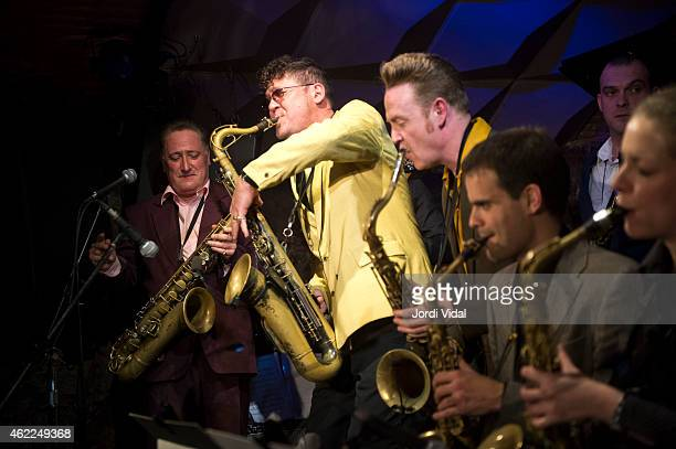 Ray Gelato Sax Gordon Dani Nello and Ignasi Poch perform on stage at Jamboree on January 25 2015 in Barcelona Spain