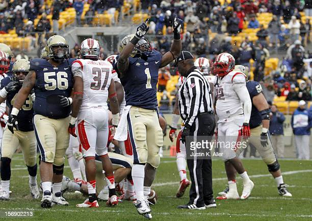 Ray Graham of the Pittsburgh Panthers reacts after a first half touchdown against the Rutgers Scarlet Knights during the game on November 24 2012 at...