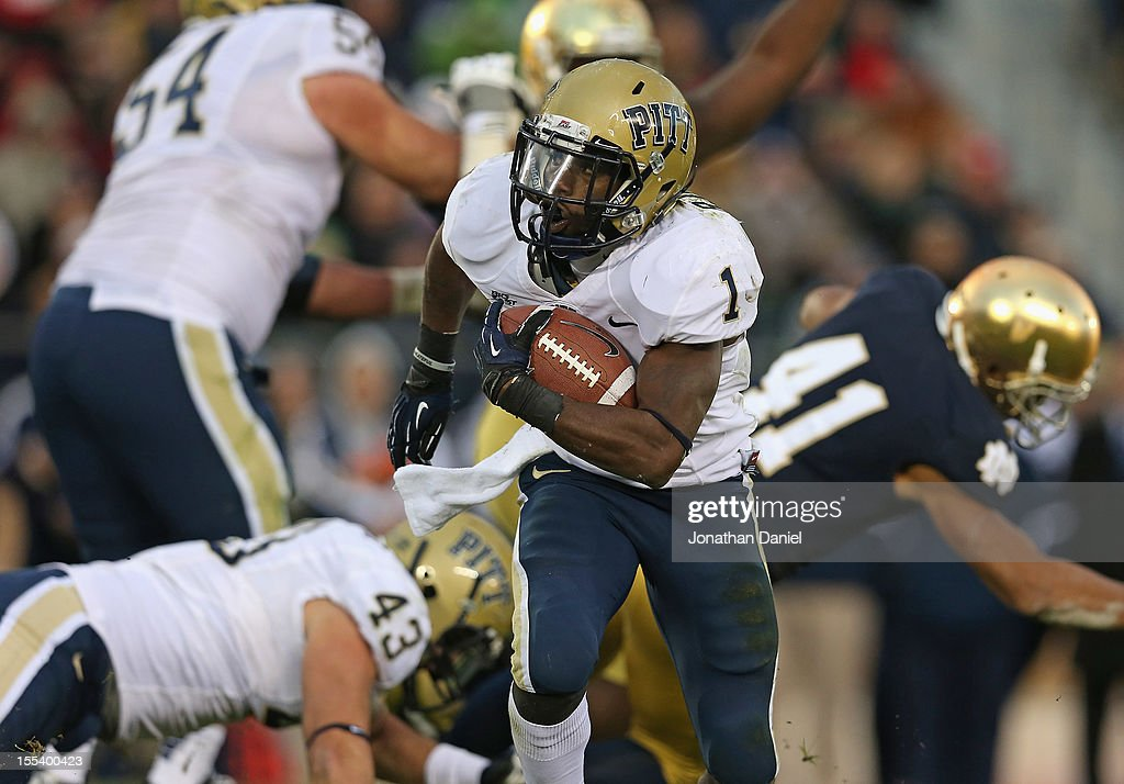Ray Graham #1 of the Pittsburgh Panthers runs for a long gain against the Notre Dame Fighting Irish at Notre Dame Stadium on November 3, 2012 in South Bend, Indiana. Notre Dame defeated Pittsburgh 29-26 in triple overtime.