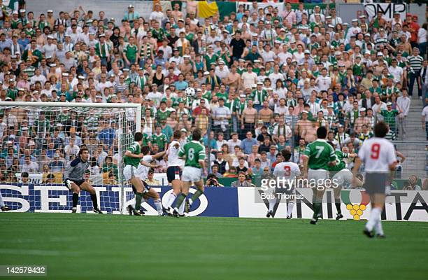 Ray Houghton heads the Republic of Ireland winner past England's Peter Shilton during the European Championship at Stuttgart, 12th June 1988. The...
