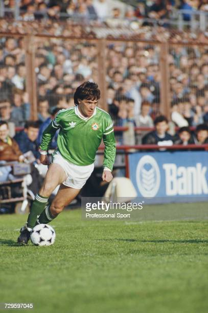 Ray Houghton of the Republic of Ireland makes a run with the ball during an International match in Dublin, Ireland in 1988.