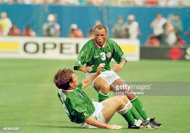 Ray Houghton with Terry Phelan after scoring the winning goal, Italy vs Republic of Ireland, Giants Stadium New York, World Cup Finals, USA Mandatory...