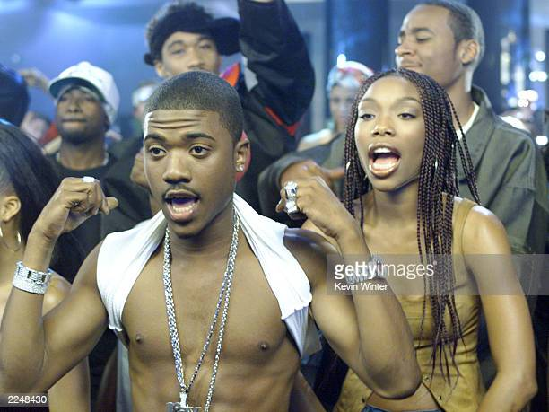 Ray J and his sister Brandy on the set of his new video 'Wait A Minute' featuring Lil' Kim his new single on Atlantic Records in Los Angeles Ca...