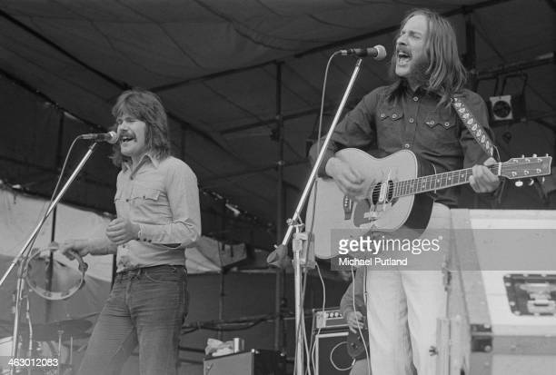 Ray Jackson and Alan Hull performing with British folk rock group Lindisfarne at the White City Festival, White City Stadium, London, 15th July 1973.