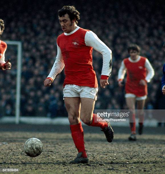 Ray Kennedy in action for Arsenal during their First Division match against Leicester City at Filbert Street in Leicester 6th March 1971