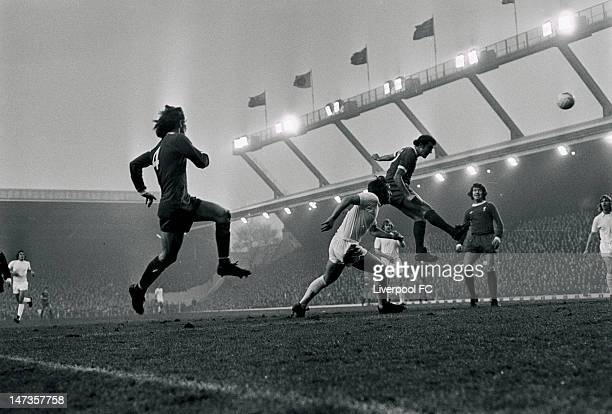 Ray Kennedy of Liverpool heads towards goal during the English First Division match between Liverpool and West Ham United held on November 23 1974 at...