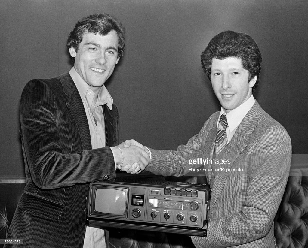 """21st April 1979, Anfield, Liverpool, Liverpool 1 v Bristol City 0, Ray Kennedy of Liverpool receives the """"Waltham Electronics"""" Man of the match award : News Photo"""