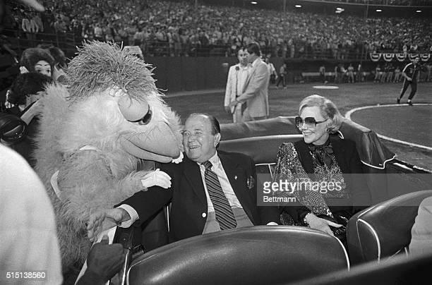Ray Kroc, owner of the San Diego Padres and founder of the MacDonald's hamburger chain, is greeted by the San Diego chicken in honor of Kroc's 80th...