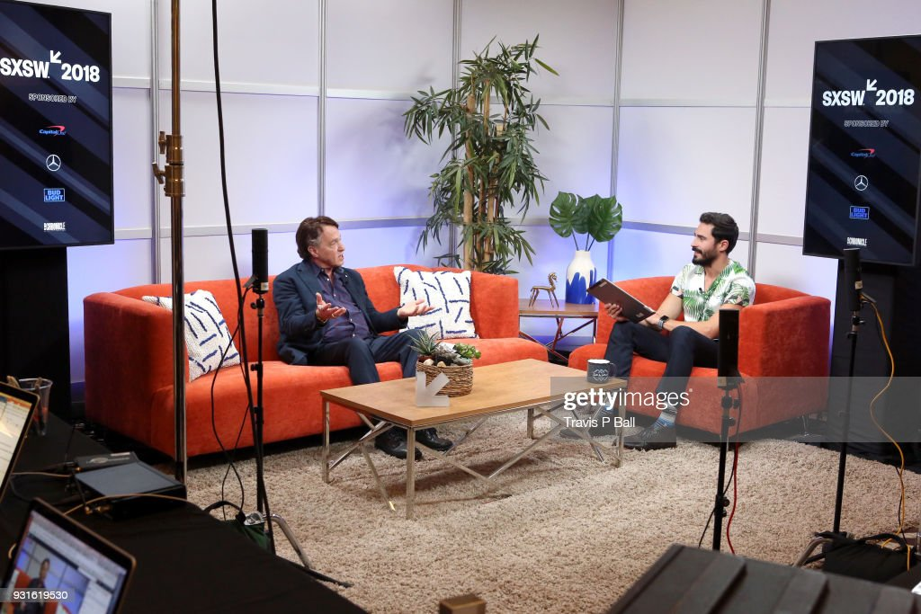Ray Kurzweil (L) and Douglas Caballero speak at The SXSW Facebook Live Studio: Ray Kurtzwell - 2018 SXSW Conference and Festivals at JW Marriott Austin on March 13, 2018 in Austin, Texas.