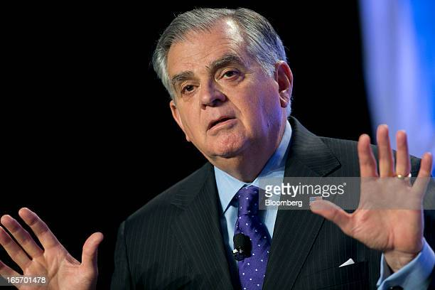 Ray LaHood US secretary of transportation speaks during the US ExportImport Bank annual conference in Washington DC US on Friday April 5 2013 The...