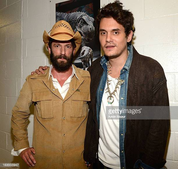 """Ray Lamontagne and John Mayer backstage at the """"Love For Levon"""" Benefit To Save The Barn at Izod Center on October 3, 2012 in East Rutherford, New..."""