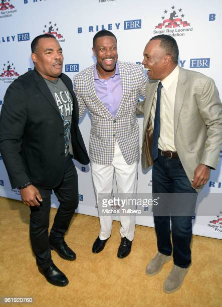 Ray Leonard Jr Chris Tucker and Sugar Ray Leonard attend the 9th Annual Big Fighters Big Cause Charity Boxing Night Benefiting The Sugar Ray Leonard...
