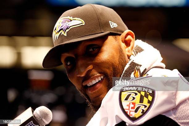 Ray Lewis of the Baltimore Ravens answers questions from the media during Super Bowl XLVII Media Day ahead of Super Bowl XLVII at the MercedesBenz...