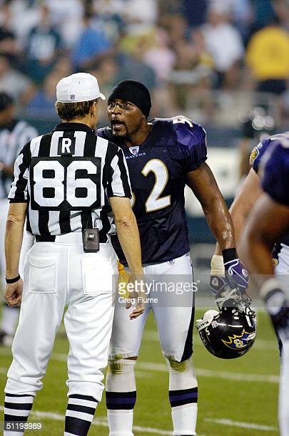 Ray Lewis of the Baltimore Ravens argues with referee Bernie Kukar during a game against the Philadelphia Eagles on August 20 2004 at Lincoln...