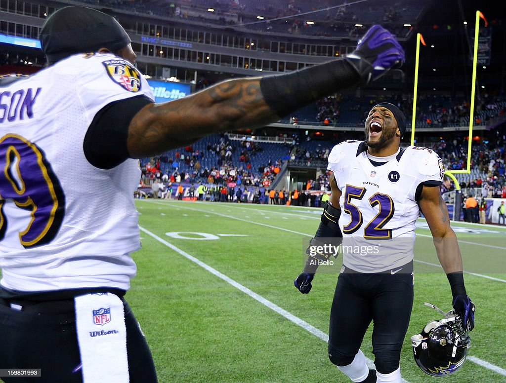 Ray Lewis #52 of the Baltimore Ravens celebrates after defeating the New England Patriots in the 2013 AFC Championship game at Gillette Stadium on January 20, 2013 in Foxboro, Massachusetts. The Baltimore Ravens defeated the New England Patriots 28-13.