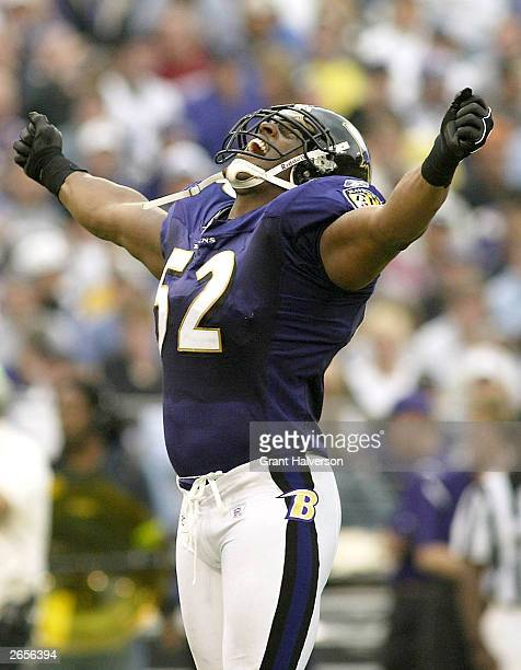 Ray Lewis of the Baltimore Ravens celebrates during the Ravens 26-6 win over the Denver Broncos on October 26, 2003 at M&T Bank Stadium in Baltimore,...