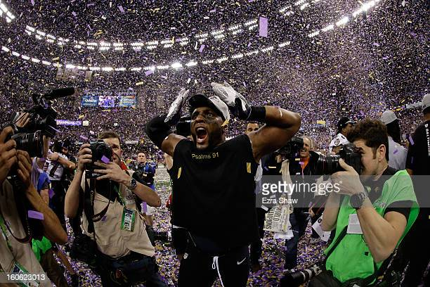 Ray Lewis of the Baltimore Ravens celebrates following their 3431 win against the San Francisco 49ers during Super Bowl XLVII at the MercedesBenz...