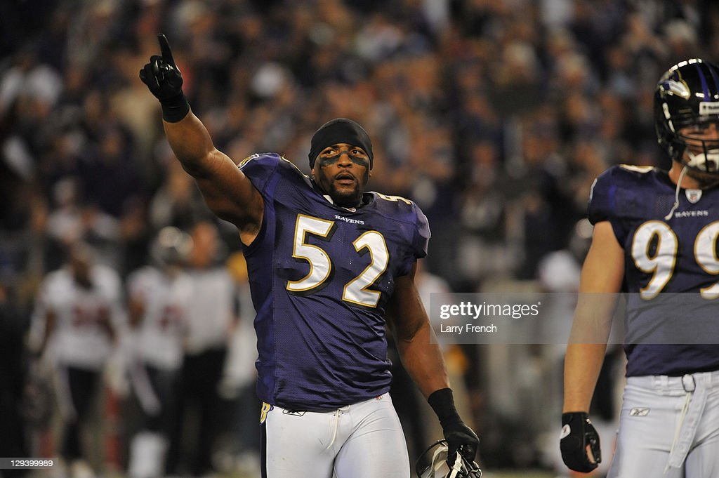 Ray Lewis #52 of the Baltimore Ravens celebrates his team's victory against the Houston Texans at M&T Bank Stadium on October 16. 2011 in Baltimore, Maryland. The Ravens defeated the Texans 29-14.