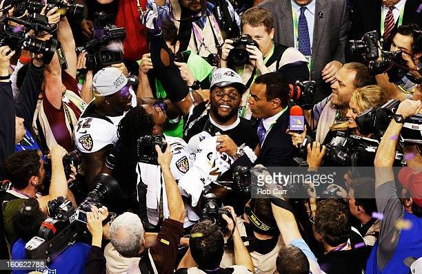 Ray Lewis of the Baltimore Ravens celebrates on the field afte the Ravens won 3431 against the San Francisco 49ers during Super Bowl XLVII at the...