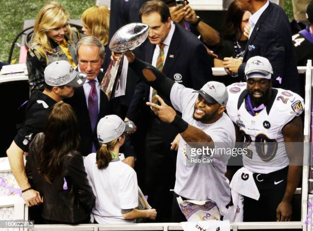Ray Lewis of the Baltimore Ravens celebrates with the VInce Lombardi trophy after the Ravens won 3431 against the San Francisco 49ers during Super...