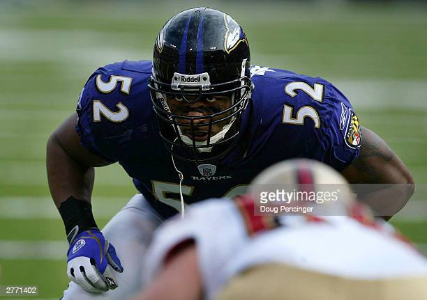 Ray Lewis of the Baltimore Ravens eyes up the San Francisco 49ers offense as the Ravens defeated the 49ers 446 on November 30 2003 at the MT Bank...