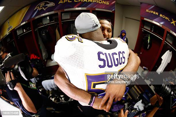 Ray Lewis of the Baltimore Ravens hugs teammate Terrell Suggs in the locker room following their 3431 win against the San Francisco 49ers during...