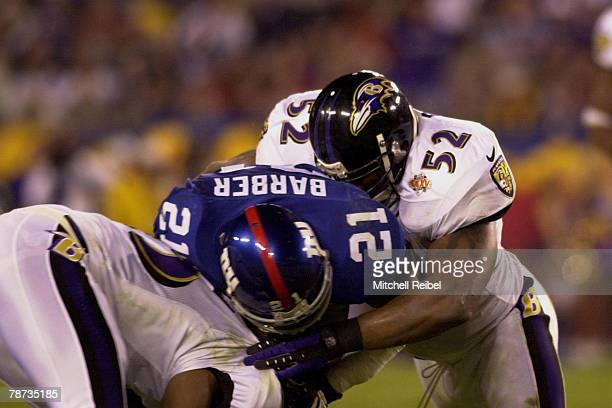 Ray Lewis of the Baltimore Ravens in game action at Super Bowl XXXV . The Baltimore Ravens went on to defeat the New York Giants by a score of on . ?...
