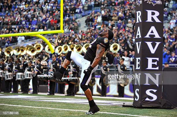 Ray Lewis of the Baltimore Ravens is introduced before the game against the Tampa Bay Buccaneers at M&T Bank Stadium on November 28, 2010 in...