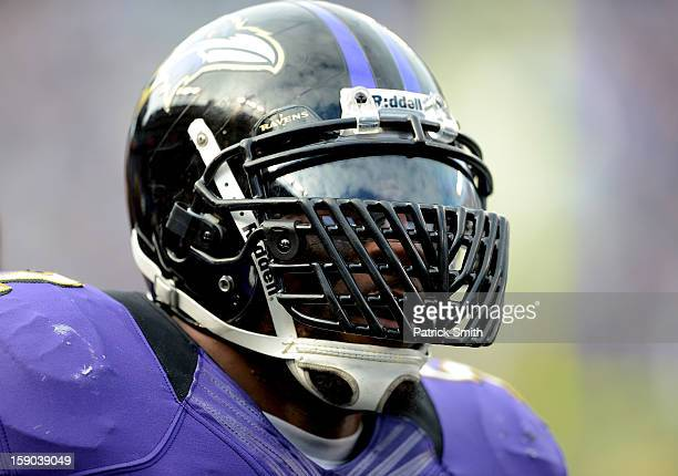 Ray Lewis of the Baltimore Ravens looks on against the Indianapolis Colts during the AFC Wild Card Playoff Game at MT Bank Stadium on January 6 2013...