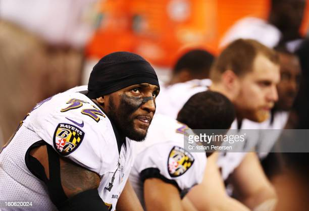 Ray Lewis of the Baltimore Ravens looks on against the San Francisco 49ers during Super Bowl XLVII at the MercedesBenz Superdome on February 3 2013...