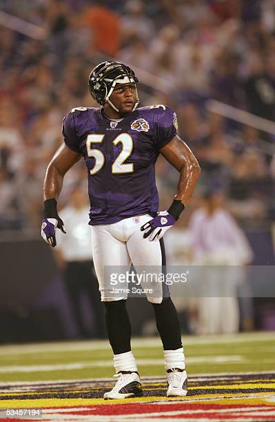 Ray Lewis of the Baltimore Ravens looks on during the preseason game against the Philadelphia Eagles at M&T Bank Stadium on August 20, 2005 in...