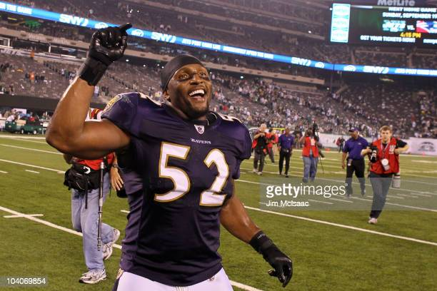 Ray Lewis of the Baltimore Ravens reacts after defeating the New York Jets during their home opener at the New Meadowlands Stadium on September 13...