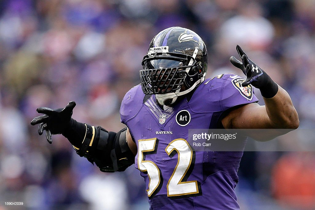 Ray Lewis #52 of the Baltimore Ravens reacts in the fourth quarter against the Indianapolis Colts during the AFC Wild Card Playoff Game at M&T Bank Stadium on January 6, 2013 in Baltimore, Maryland.